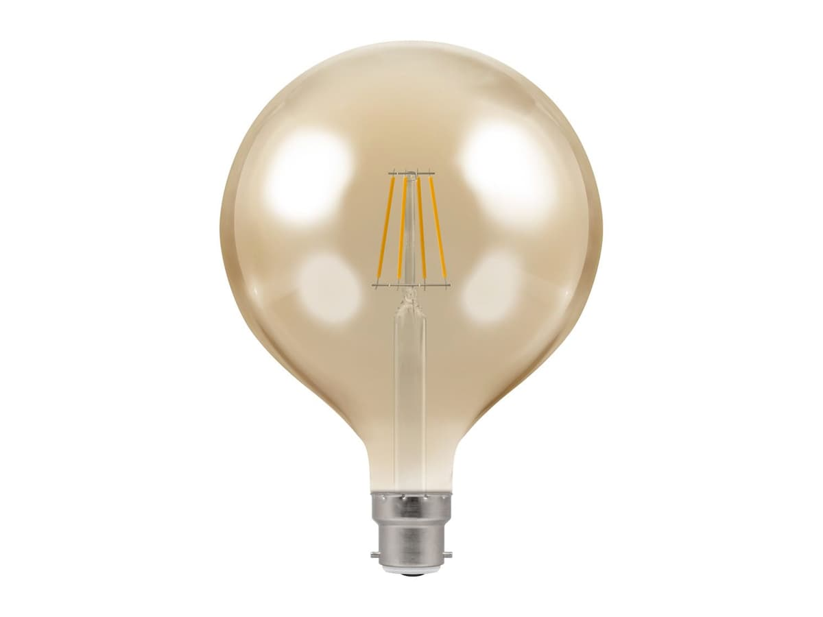 7.5w BC 125mm Globe Dimmable LED Filament – Crompton