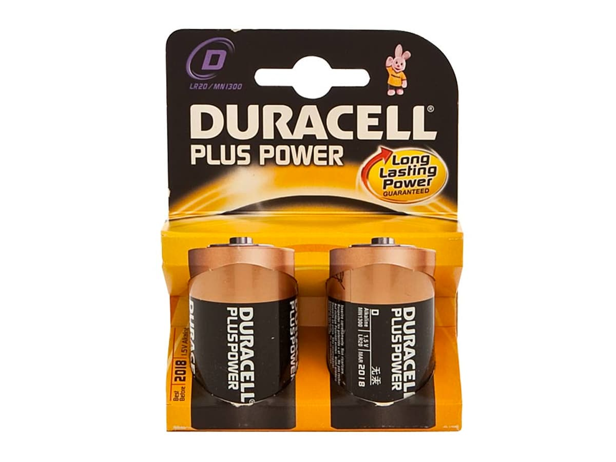 Duracell Plus D Battery – 2 Pack