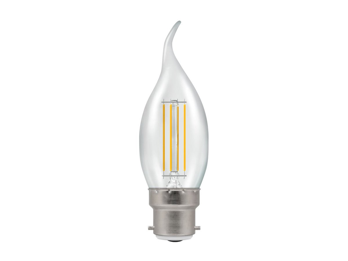 5w BC/B22d Dimmable LED Bent Tip Filament Candle Crompton