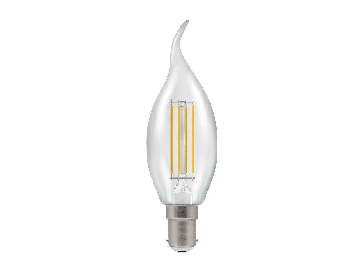 5w SES/E14 Dimmable LED Bent Tip Filament Candle Crompton